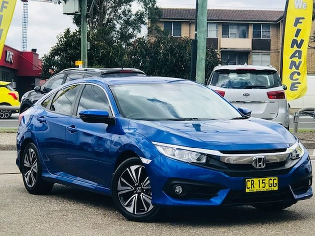 Used Honda Civic 10th Gen MY18 VTi-L Liverpool, 2018 Honda Civic 10th Gen MY18 VTi-L Blue 1 Speed Constant Variable Hatchback