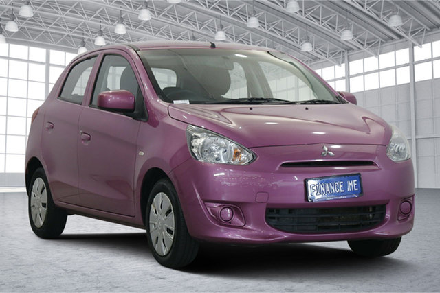Used Mitsubishi Mirage LA MY14 ES Victoria Park, 2013 Mitsubishi Mirage LA MY14 ES Pink 5 Speed Manual Hatchback