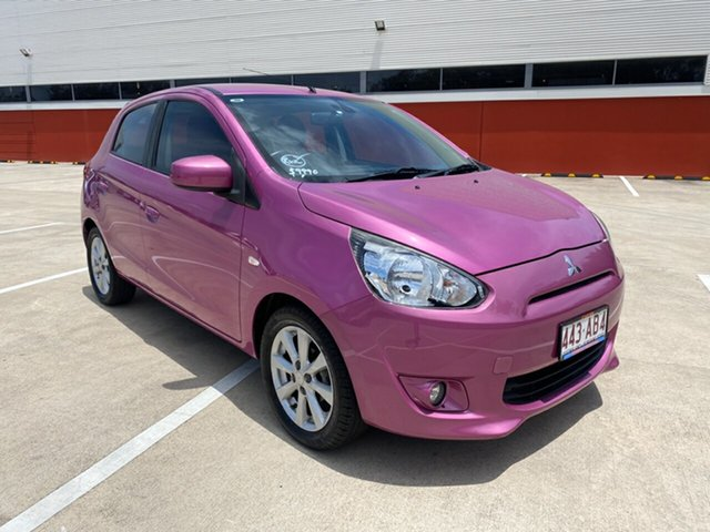 Used Mitsubishi Mirage LA LS Morayfield, 2013 Mitsubishi Mirage LA LS Purple 5 Speed Manual Hatchback