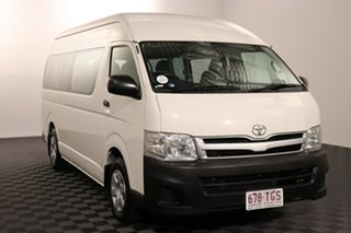 2010 Toyota HiAce TRH223R MY11 Commuter High Roof Super LWB White 4 speed Automatic Bus.
