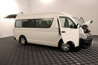 2010 Toyota HiAce TRH223R MY11 Commuter High Roof Super LWB White 4 speed Automatic Bus