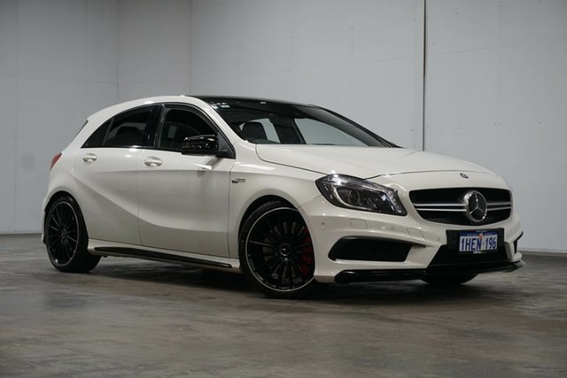 Used Mercedes-Benz A-Class W176 A45 AMG SPEEDSHIFT DCT 4MATIC Welshpool, 2014 Mercedes-Benz A-Class W176 A45 AMG SPEEDSHIFT DCT 4MATIC Cirrus White 7 Speed