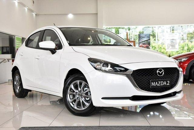 New Mazda 2 DJ2HA6 G15 SKYACTIV-MT Pure Waitara, 2020 Mazda 2 DJ2HA6 G15 SKYACTIV-MT Pure White 6 Speed Manual Hatchback