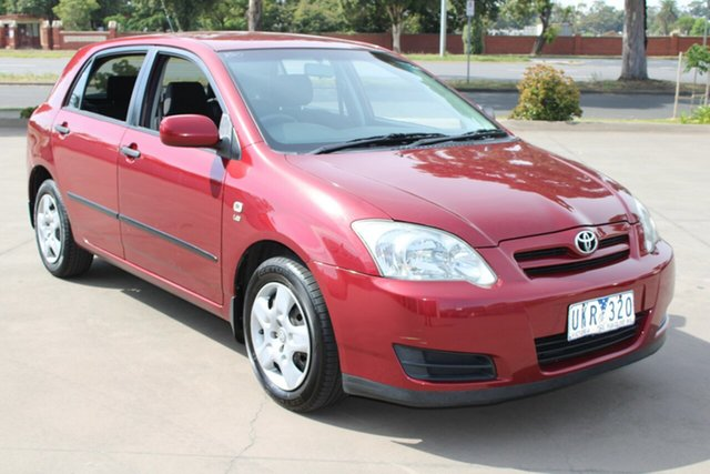 Used Toyota Corolla ZZE122R MY06 Ascent Seca West Footscray, 2006 Toyota Corolla ZZE122R MY06 Ascent Seca Maroon 5 Speed Manual Hatchback