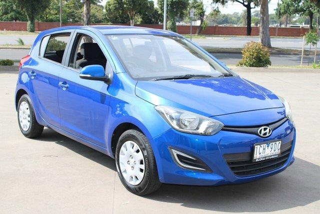 Used Hyundai i20 PB MY12.5 Active West Footscray, 2012 Hyundai i20 PB MY12.5 Active Blue 4 Speed Automatic Hatchback