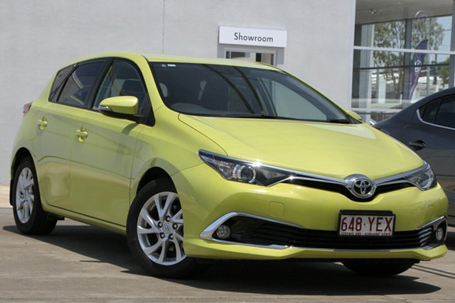 Used Toyota Corolla ZRE182R Ascent Sport S-CVT Bundamba, 2016 Toyota Corolla ZRE182R Ascent Sport S-CVT Lime 7 Speed Constant Variable Hatchback
