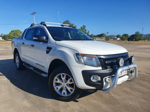 Used Ford Ranger PX Wildtrak Double Cab Townsville, 2013 Ford Ranger PX Wildtrak Double Cab Cool White 6 Speed Sports Automatic Utility