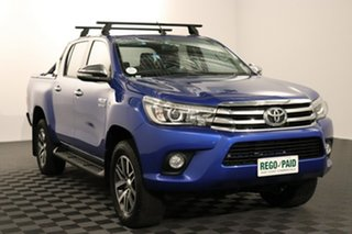 2016 Toyota Hilux GUN126R SR5 Double Cab Nebula Blue 6 speed Automatic Utility.