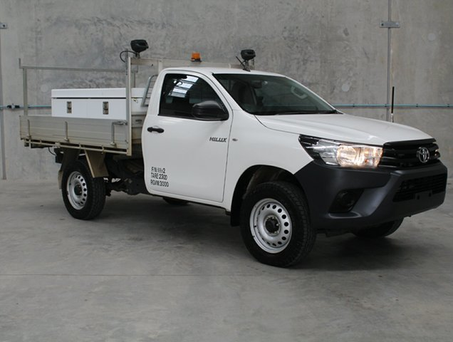 Used Toyota Hilux GUN125R Workmate Caloundra, 2017 Toyota Hilux GUN125R Workmate White 6 speed Automatic Cab Chassis
