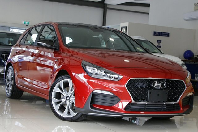 New Hyundai i30 PD.V4 MY21 N Line Premium Reynella, 2021 Hyundai i30 PD.V4 MY21 N Line Premium Lava Orange 7 Speed Auto Dual Clutch Hatchback