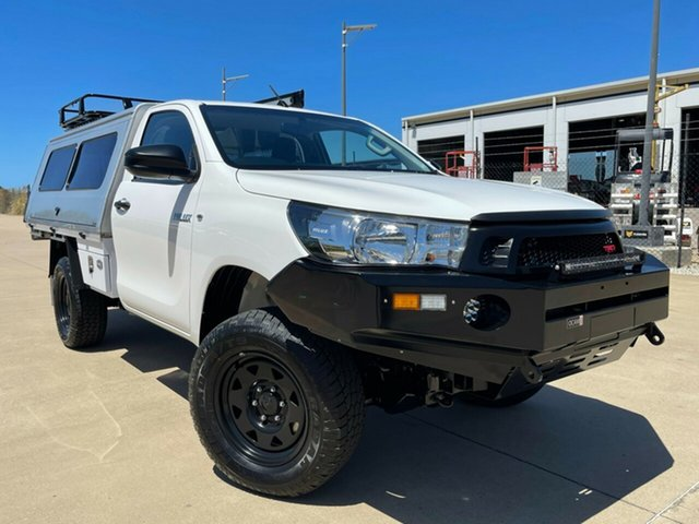 Used Toyota Hilux GUN125R Workmate Townsville, 2016 Toyota Hilux GUN125R Workmate White 6 Speed Sports Automatic Cab Chassis