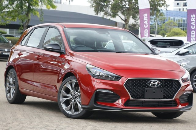 New Hyundai i30 PD.V4 MY21 N Line D-CT Nunawading, 2020 Hyundai i30 PD.V4 MY21 N Line D-CT Lava Orange 7 Speed Sports Automatic Dual Clutch Hatchback