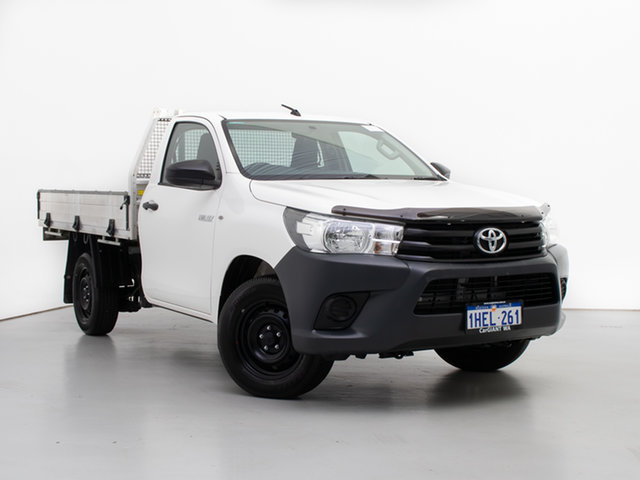 Used Toyota Hilux TGN121R MY19 Workmate, 2019 Toyota Hilux TGN121R MY19 Workmate White 5 Speed Manual Cab Chassis
