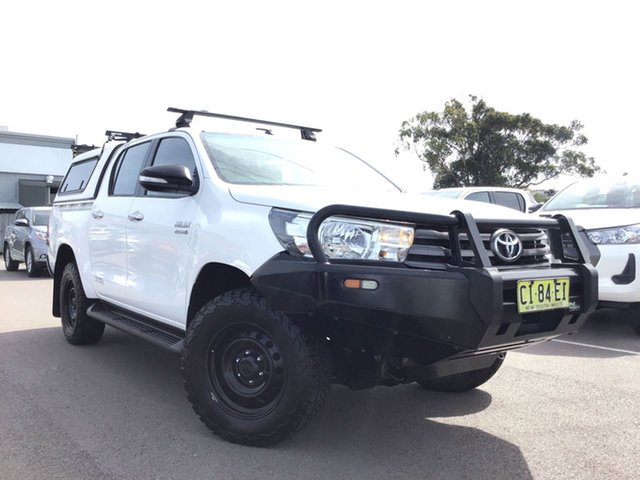 Used Toyota Hilux GUN126R SR Double Cab Cardiff, 2016 Toyota Hilux GUN126R SR Double Cab White 6 Speed Manual Cab Chassis