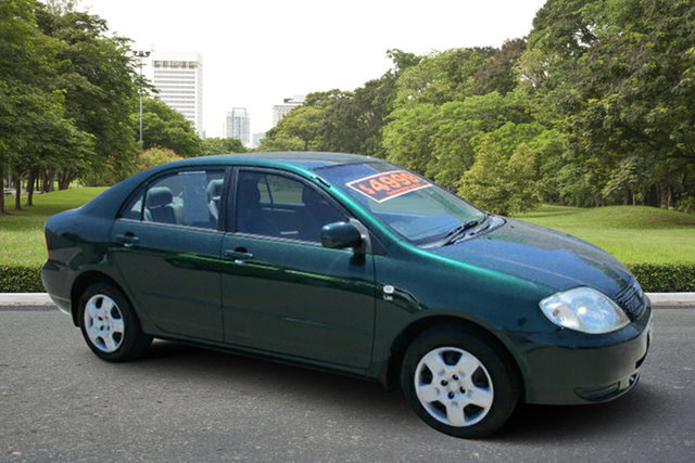 Used Toyota Corolla ZZE122R MY03 Conquest Murray Bridge, 2002 Toyota Corolla ZZE122R MY03 Conquest Green 5 Speed Manual Sedan