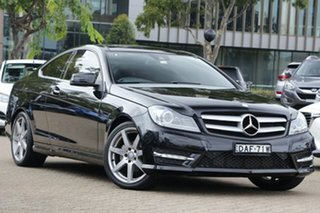 2015 Mercedes-Benz C180 W204 MY15 Avantgarde Black 7 Speed Automatic G-Tronic Coupe.