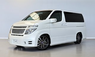 2003 Nissan Elgrand E51 Rider White 5 Speed Automatic Wagon.