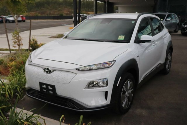 Demo Hyundai Kona OSEV.2 MY20 electric Elite Mount Gravatt, 2020 Hyundai Kona OSEV.2 MY20 electric Elite Chalk White 1 Speed Reduction Gear Wagon