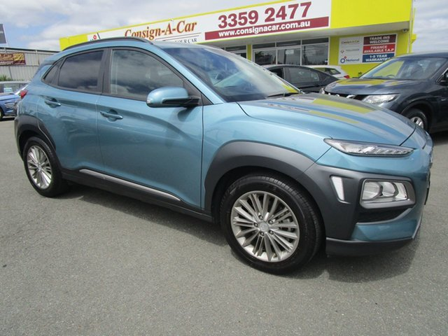 Used Hyundai Kona OS MY18 Elite D-CT AWD Kedron, 2017 Hyundai Kona OS MY18 Elite D-CT AWD Blue 7 Speed Sports Automatic Dual Clutch Wagon