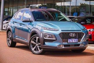 2017 Hyundai Kona OS MY18 Highlander D-CT AWD Blue 7 Speed Sports Automatic Dual Clutch Wagon.