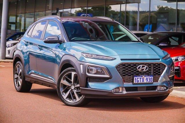 Used Hyundai Kona OS MY18 Highlander D-CT AWD Gosnells, 2017 Hyundai Kona OS MY18 Highlander D-CT AWD Blue 7 Speed Sports Automatic Dual Clutch Wagon