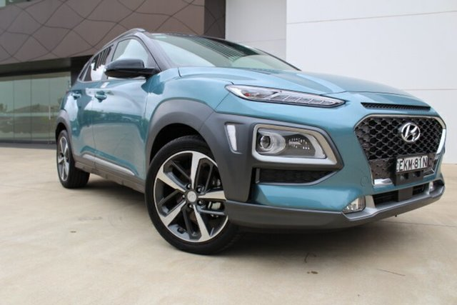 Demo Hyundai Kona OS.3 MY20 Highlander D-CT AWD Tuggerah, 2020 Hyundai Kona OS.3 MY20 Highlander D-CT AWD Ceramic Blue & Black Roof 7 Speed