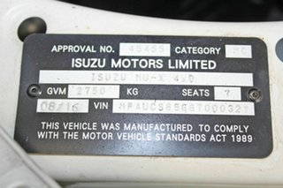2016 Isuzu MU-X UC MY15.5 LS-M (4x4) White 5 Speed Automatic Wagon