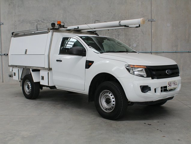 Used Ford Ranger PX XL Hi-Rider Caloundra, 2012 Ford Ranger PX XL Hi-Rider White 6 speed Automatic Cab Chassis
