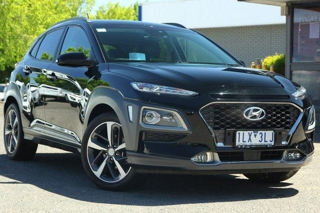Used Hyundai Kona OS MY18 Highlander 2WD Nunawading, 2017 Hyundai Kona OS MY18 Highlander 2WD Black 6 Speed Sports Automatic Wagon