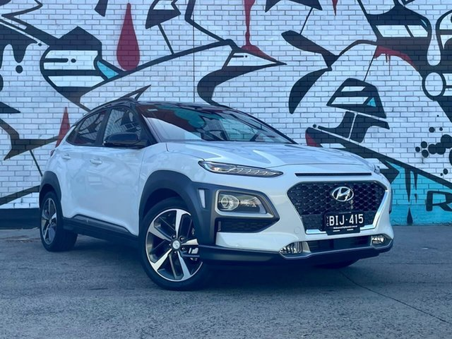 Demo Hyundai Kona OS.3 MY20 Highlander TTR (AWD) South Melbourne, 2020 Hyundai Kona OS.3 MY20 Highlander TTR (AWD) Chalk White & Black Roof 7 Speed Auto Dual Clutch