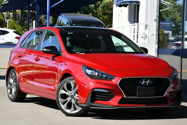 New Hyundai i30 PD.V4 MY21 N Line D-CT Victoria Park, 2020 Hyundai i30 PD.V4 MY21 N Line D-CT Fiery Red 7 Speed Sports Automatic Dual Clutch Hatchback
