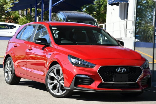 New Hyundai i30 PD.V4 MY21 N Line D-CT Victoria Park, 2020 Hyundai i30 PD.V4 MY21 N Line D-CT Fiery Red 7 Speed Sports Automatic Dual Clutch Hatchback