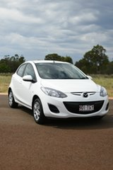 2013 Mazda 2 DE MY13 Neo White 4 Speed Automatic Hatchback.