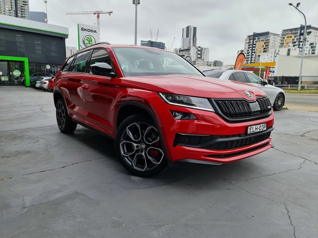 Demo Skoda Kodiaq NS MY20.5 RS DSG Parramatta, 2020 Skoda Kodiaq NS MY20.5 RS DSG Velvet Red 7 Speed Sports Automatic Dual Clutch Wagon