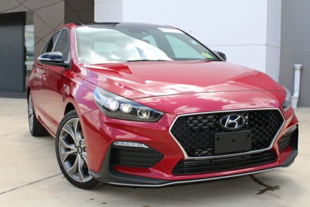 Demo Hyundai i30 PD.V4 MY21 N Line D-CT Premium Tuggerah, 2020 Hyundai i30 PD.V4 MY21 N Line D-CT Premium Fiery Red 7 Speed Sports Automatic Dual Clutch
