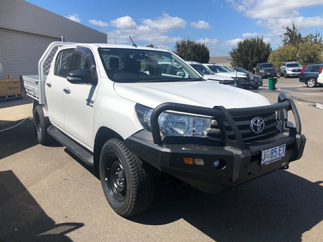 Used Toyota Hilux GUN126R SR Double Cab Devonport, 2016 Toyota Hilux GUN126R SR Double Cab White 6 Speed Sports Automatic Cab Chassis