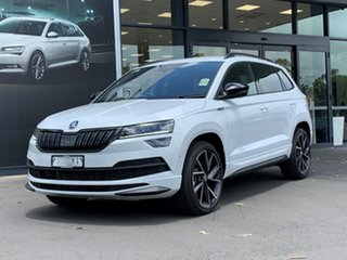 2020 Skoda Karoq NU MY21 140TSI DSG AWD Sportline White 7 Speed Sports Automatic Dual Clutch Wagon.
