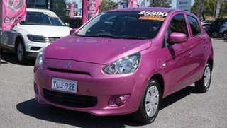 2014 Mitsubishi Mirage LA MY14 ES Purple 5 Speed Manual Hatchback