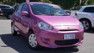 2014 Mitsubishi Mirage LA MY14 ES Purple 5 Speed Manual Hatchback.