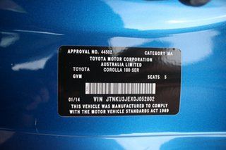 2013 Toyota Corolla ZRE182R Ascent Sport Caribbean Blue 6 Speed Manual Hatchback