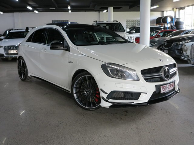 Used Mercedes-Benz A-Class W176 805+055MY A45 AMG SPEEDSHIFT DCT 4MATIC Albion, 2015 Mercedes-Benz A-Class W176 805+055MY A45 AMG SPEEDSHIFT DCT 4MATIC White 7 Speed