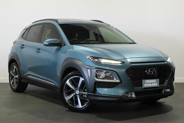 Used Hyundai Kona OS.2 MY19 Highlander D-CT AWD Bayswater, 2019 Hyundai Kona OS.2 MY19 Highlander D-CT AWD Blue 7 Speed Sports Automatic Dual Clutch Wagon