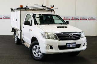 2012 Toyota Hilux KUN26R MY12 SR (4x4) Glacier White 5 Speed Manual Cab Chassis.