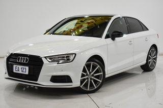 2018 Audi A3 8V MY18 Black Edition S Tronic White 7 Speed Sports Automatic Dual Clutch Sedan.