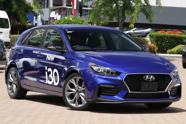 New Hyundai i30 PD.V4 MY21 N Line D-CT Aspley, 2020 Hyundai i30 PD.V4 MY21 N Line D-CT Intense Blue 7 Speed Sports Automatic Dual Clutch Hatchback