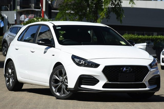 New Hyundai i30 PD.V4 MY21 N Line D-CT Moorooka, 2020 Hyundai i30 PD.V4 MY21 N Line D-CT Polar White 7 Speed Sports Automatic Dual Clutch Hatchback