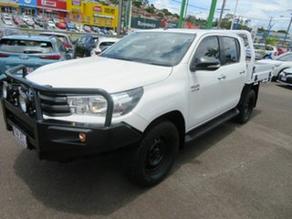 2017 Toyota Hilux GUN126R SR Double Cab White 6 Speed Sports Automatic Cab Chassis.