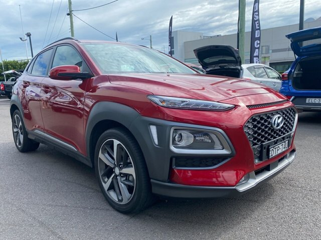 Used Hyundai Kona OS.2 MY19 Highlander 2WD Cardiff, 2018 Hyundai Kona OS.2 MY19 Highlander 2WD Red 6 Speed Sports Automatic Wagon