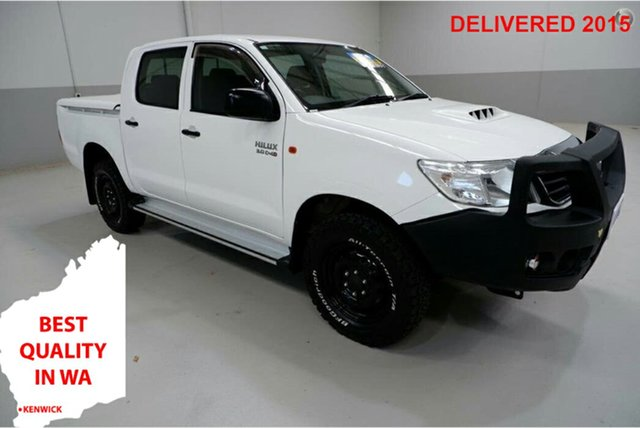 Used Toyota Hilux KUN26R MY14 SR Double Cab Kenwick, 2014 Toyota Hilux KUN26R MY14 SR Double Cab White 5 Speed Manual Cab Chassis