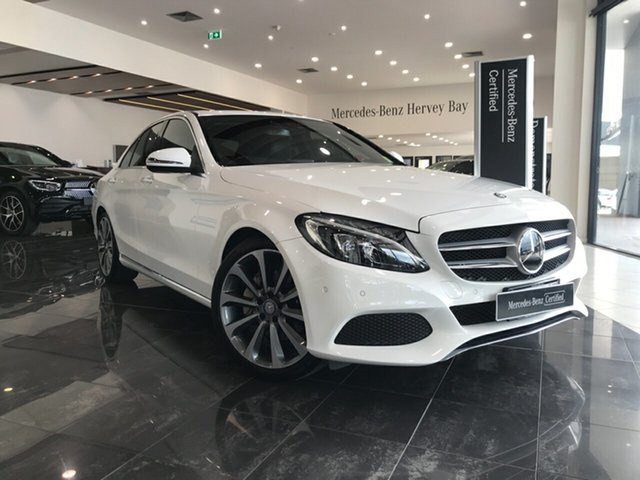 Used Mercedes-Benz C-Class W205 807+057MY C250 9G-Tronic Hervey Bay, 2017 Mercedes-Benz C-Class W205 807+057MY C250 9G-Tronic White 9 Speed Sports Automatic Sedan